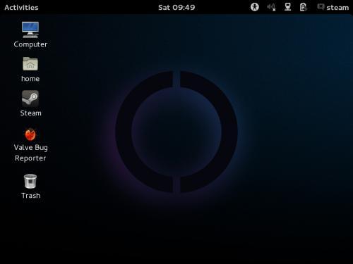 Il desktop di SteamOS al primo avvio