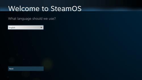Primo avvio di SteamOS dopo il riavvio