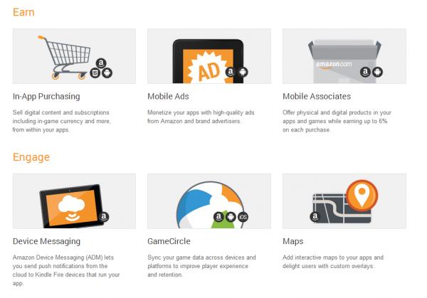 L'elenco di alcune delle API disponibile per le app pubblicate sull'Amazon appstore