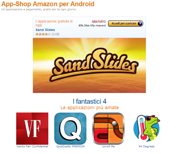 La sezione App-shop di amazon.it