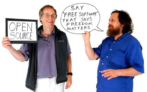 Tim Oreilly e Richard Stallman (fonte: pearlrichards.wordpress.com)