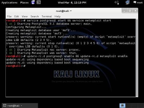 Metasploit in esecuzione su Kali Linux