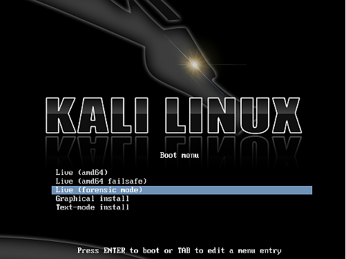 Kali Linux può eseguire il boot in Forensics Mode