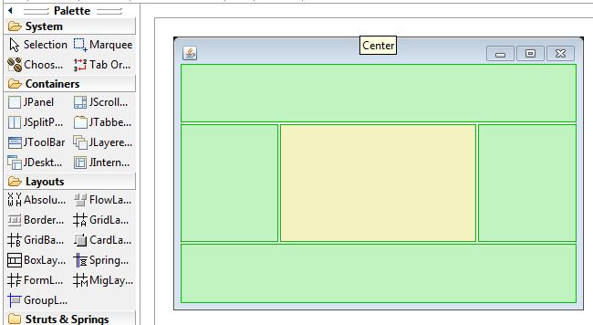 Area di disegno e border layout