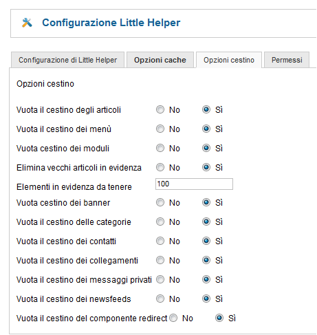 Opzioni Joomla Little Helper