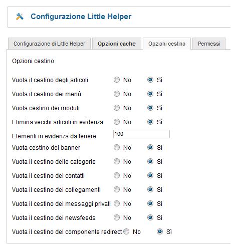 Opzioni Joomla Little Helper
