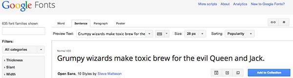 Interfaccia Google Fonts