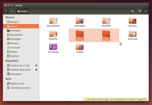 Su Ubuntu, le icone delle directory indicano che si tratta di RAID
