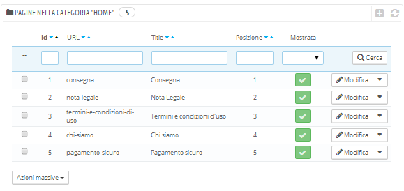 Gestione delle Pagine CMS