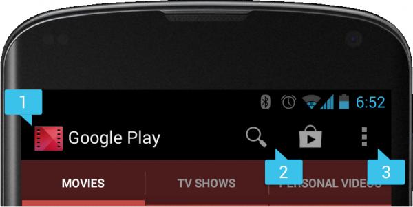 Una tipica ActionBar Android