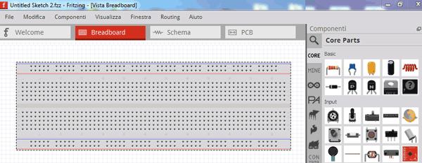 """Fritzing : tool per la realizzazione visuale del circuito</p> <p>"""" /> </a> </div> <p>Avvalendoci di Fritzing, supponiamo di voler utilizzare il pin analogico 0 della nostra """"Arduino Uno"""" come input e colleghiamo ad esso il piedino di output del potenziometro (quello centrale); ovviamente gli altri pin di quest'ultimo saranno collegati alla tensione di 5 V ed alla massa forniti direttamente su uno dei connettori della board.</p> <div class="""