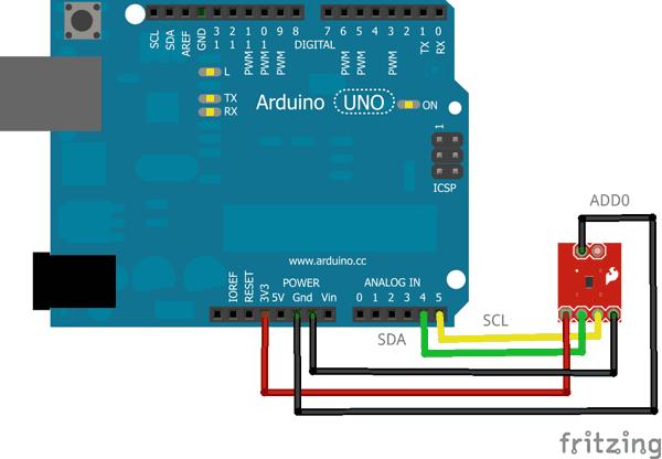 Sensore TMP102 collegato alla board