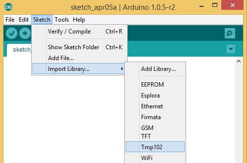 Libreria Tmp102 disponibile tra quelle di Arduino