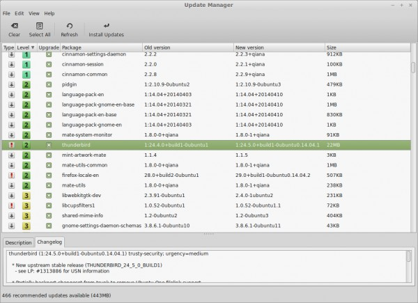 La finestra dell'Update Manager su Linux Mint 17