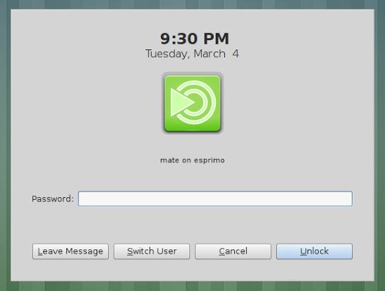 La lock screen di MATE 1.8