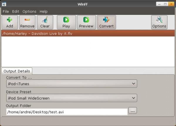 L'interfaccia di WinFF, uno dei tanti front-end di FFmpeg