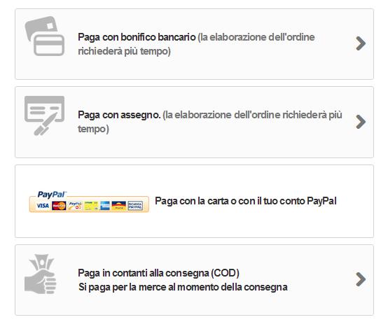 I metodi per il pagamento di PrestaShop