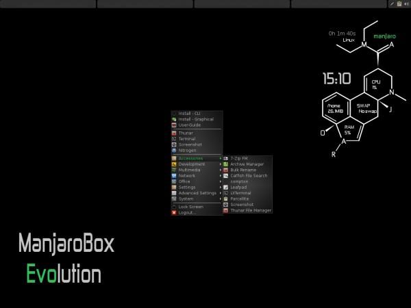 Il desktop di Manjaro OpenBox Edition