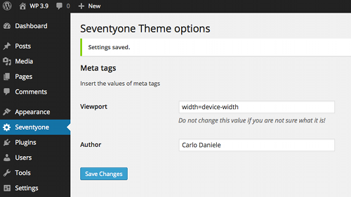 La pagina delle opzioni collegata ad un menu di primo livello