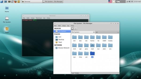 Il desktop di Porteus