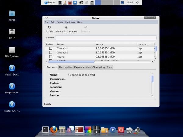 Il gestore dei pacchetti Gslapt sul desktop di VectorLinux