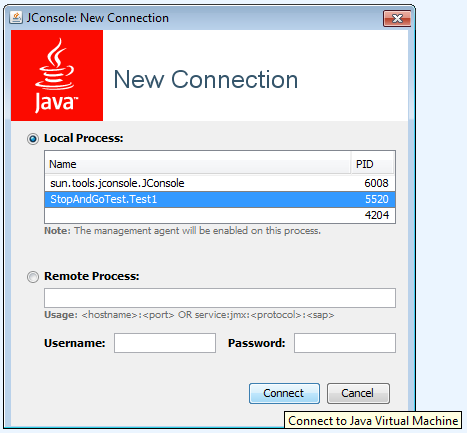 JConsole, connessione verso una JVM