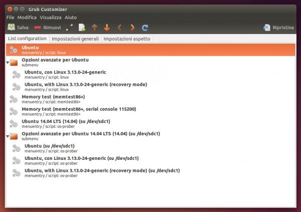 """La scheda """"List configuration"""" di GRUB Customizer"""