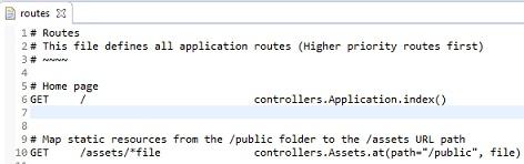 Il contenuto del file routes