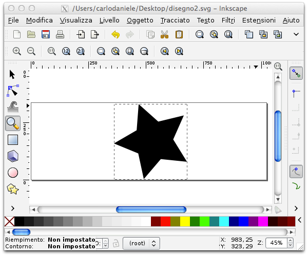 Una stella creata con Inkscape