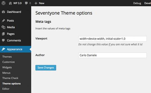 Una pagina di opzioni aggiunta al menu Appearence