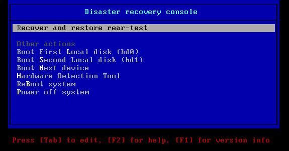 L'interfaccia dell'immagine di recovery di ReaR