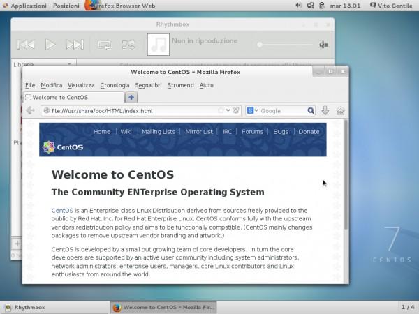 Alcune applicazioni sul desktop di CentOS 7