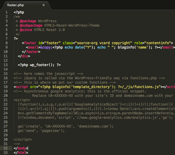 Il file footer.php del Blank Theme