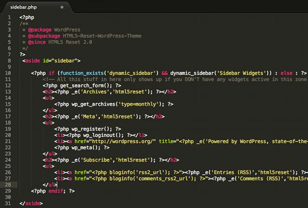 Il file sidebar.php del Blank Theme