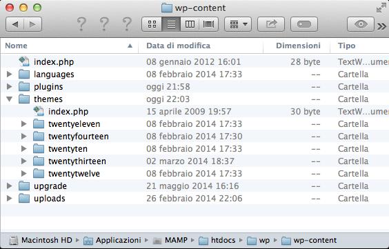 Contenuto della directory wp-content