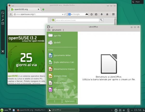 Alcune applicazioni sul desktop di openSUSE 13.2