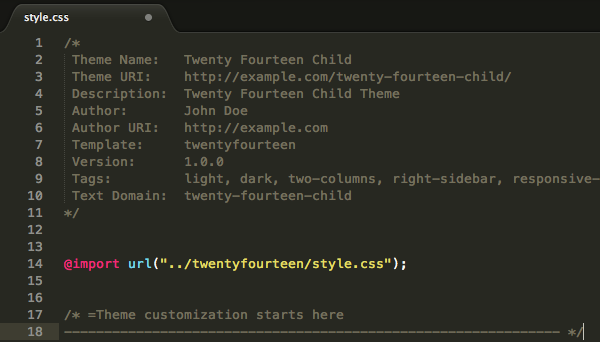 Intestazione dello style.css di un Child Theme basato su Twenty Fourteen