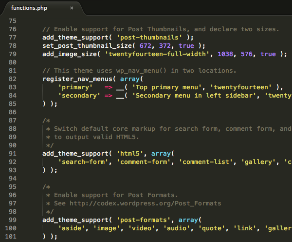 Il functions.php di Twenty Fourteen