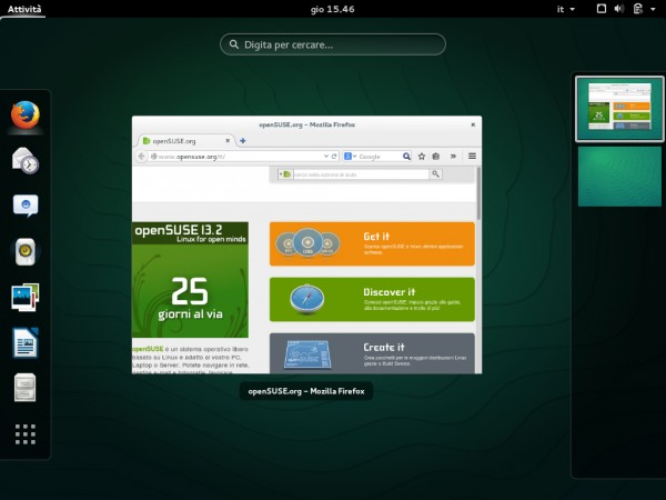 L'interfaccia di GNOME su openSUSE 13.2