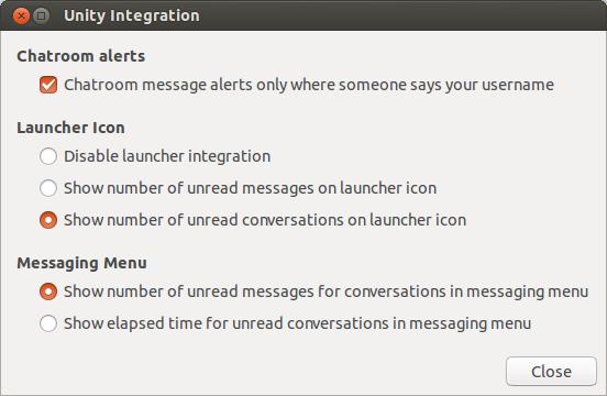 Le opzioni per l'integrazione con Unity di Pidgin