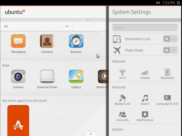 L'interfaccia di Unity 8 in anteprima su Ubuntu Next