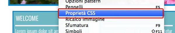 Menu Proprietà CSS