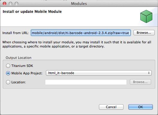 Installazione del modulo QR Code per Android