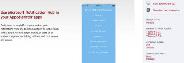Un esempio: la pagina del modulo Azure sul marketplace di Appcelerator