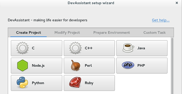 L'interfaccia di DevAssistant
