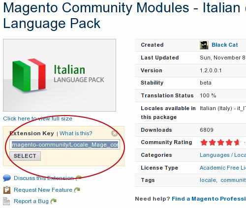 Traduzione Ufficiale nel Magento Connect Manager