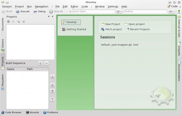 L'interfaccia di KDevelop 4.7.0