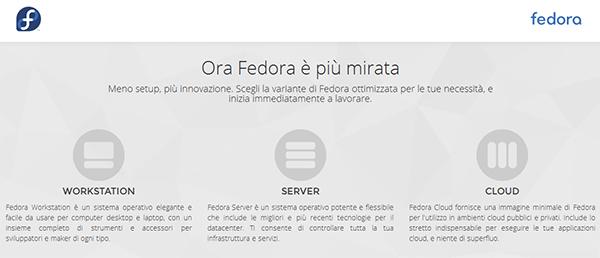 La nuova home page di Fedora e i nuovi tre prodotti