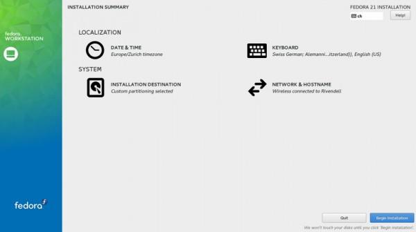 Anaconda, l'installer grafico di Fedora 21