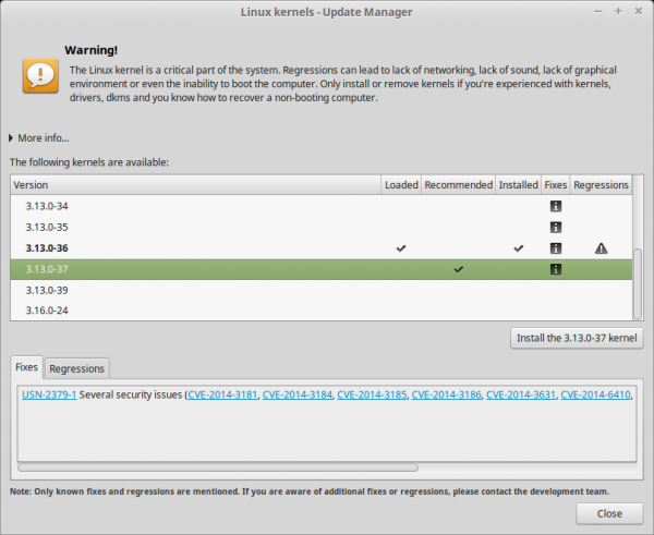 Il tool per l'installazione del kernel, incluso nell'Update Manager